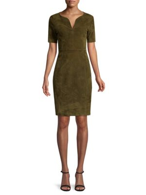 Emily Suede Shift Dress in Green