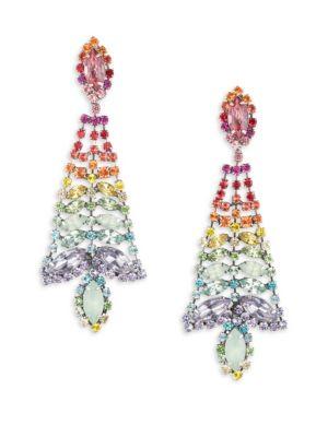 Lala Rainbow Crystal Statement Chandelier Earrings, Multi