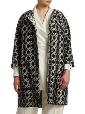 MARINA RINALDI Geometric Jacquard Coat in Black
