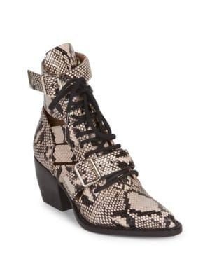 CHLOÉ Rylee Python-Print Lace-Up Boots