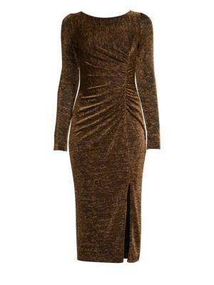 Lovey Ruched Metallic Sheath Dress by Rachel Zoe
