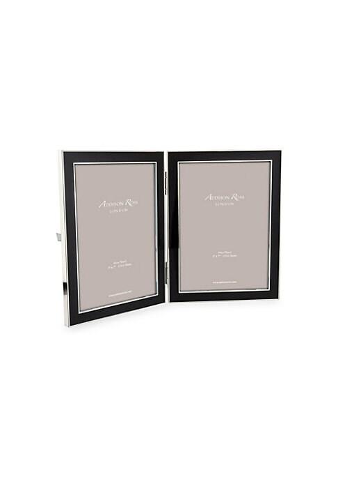 "Image of Elegant double frame in glossy black enamel.5""W x 7""H.Enamel/silver plate. Imported."