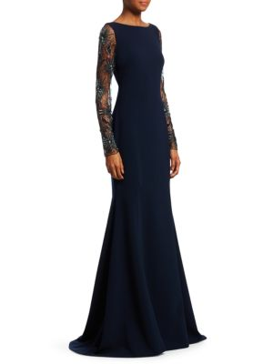 THEIA Crepe Trumpet Gown W/ Beaded Sleeves in Navy