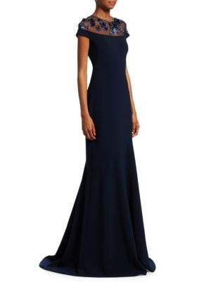 THEIA Novelty Illusion Gown W/ Paillettes in Midnight