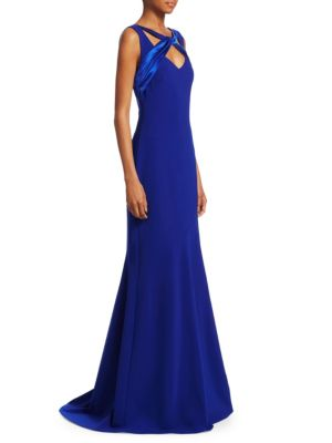 THEIA Sleeveless Crepe Gown W/ Satin Crisscross in Cobalt