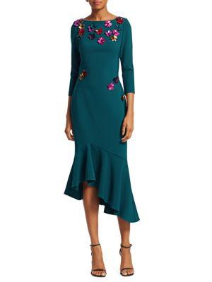 Flounce Hem Crepe Cocktail Dress by Theia