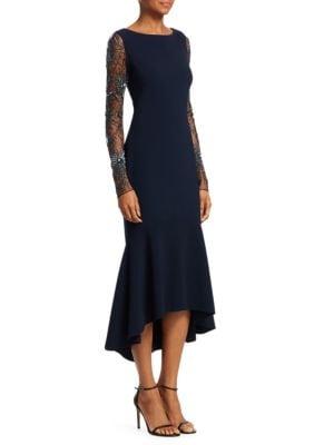 Beaded Flounce Hem Midi Dress by Theia