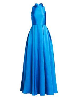 Ball Gown Dress W/ High Collar & Pockets, Cobalt Blue