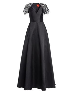 ML MONIQUE LHUILLIER V-Neck Ball Gown W/ Lace Sleeves in Jet Multi