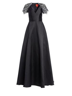 Lace Sleeve A Line Gown by Ml Monique Lhuillier