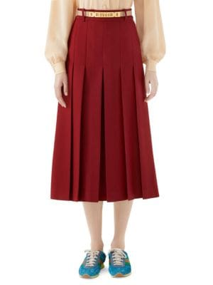 Cady Crepe Wool-Silk Pleated Skirt W/ Leather Belt in Real Magenta