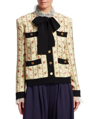Floral Pocket-Detail Tie-Neck Jacket in Neutrals