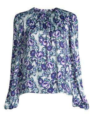 AMUR Gwen Floral Print Blouse in Mint