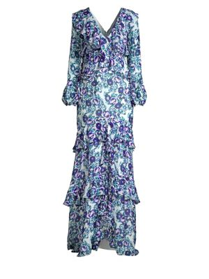 AMUR Kerry Floral Print Silk Gown in Mint