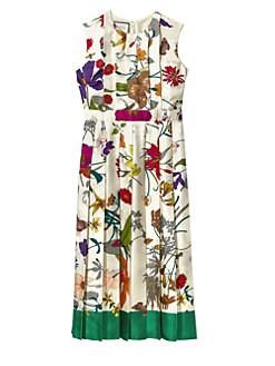 ea2b6f65 Gucci. Silk Twill Floral Pleated Midi Dress