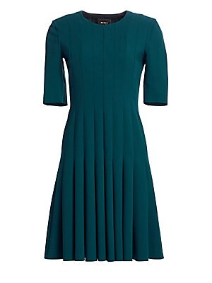 """Image of A concealed front zip and clean lines keeps this A-line dress fresh and modern. Roundneck Elbow-length sleeves Front zip closure Princess seams Wool/polyamide Dry clean Made in Switzerland SIZE & FIT A-line silhouette About 23"""" from shoulder to hem Model"""