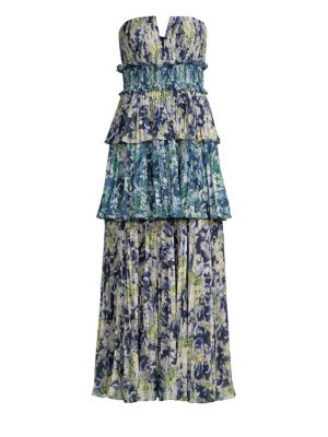 AMUR Mel Abstract Print Strapless Midi Dress in Blue