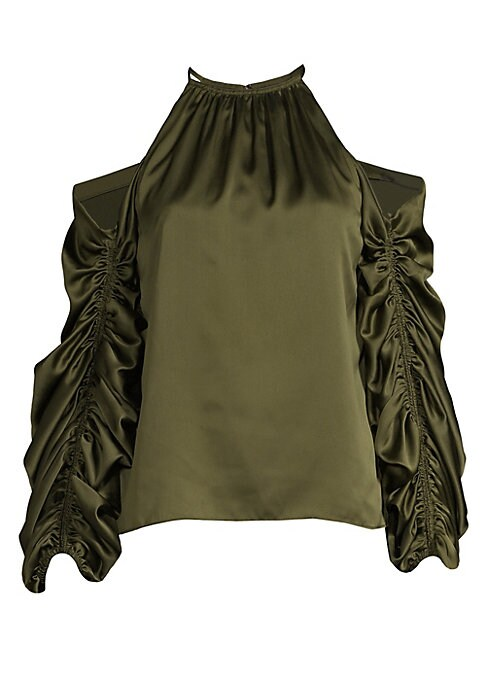 """Image of A sultry satin blouse with dramatically ruched cold shoulder sleeves. Ruched halterneck. Gathered long sleeves. Cold-shoulder cut-outs. Back zip closure. About 23.3"""" from shoulder to hem. Polyester/cupro. Dry clean. Imported. Model shown is 5'10"""" (177cm)"""