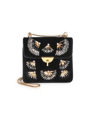 DRIES VAN NOTEN Small Velvet Embellished Shoulder Bag in Black