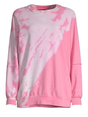 DTLA BRAND JEANS Tie Dye Creweneck Sweater in Excited Pink