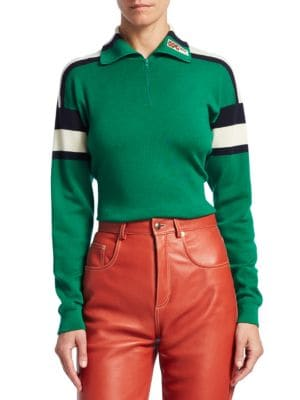 43f7249f2 Gucci - High Neck Wool SIlk Cashmere Stripe Detail Sweater