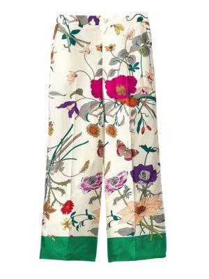 Floral-Printed Silk Pants, Ivory Floral