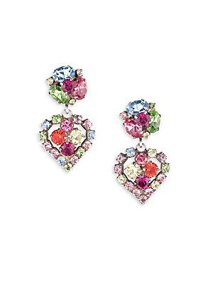 """Image of Heart-shaped drop earrings with colorful pave stones Brass plated oxidized silver Glass 1.3""""L x 0.8""""W Post back Imported. Fashion Jewelry - Trend Jewelry. Dannijo."""