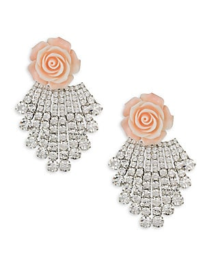 """Image of Crystal encrusted clip-on earrings with delicate rose detail. Swarovski crystals Oxidized silverplated Plastic Clip on Made in USA SIZE 3.15""""L x 2""""W. Fashion Jewelry - Trend Jewelry. Dannijo. Color: Coral."""