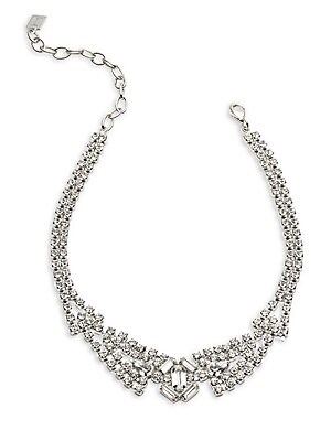 "Image of Crystal encrusted choker in silvertone finish Brass plated rhodium Glass Length, 11.9"" with 3.9"" extension Lobster clasp closure Imported. Fashion Jewelry - Trend Jewelry > Saks Fifth Avenue. Dannijo. Color: Silver."