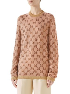Long Sleeve Fine Wool Gg Crystal Knit Pullover in Neutrals