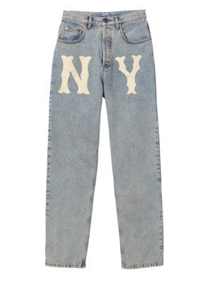 High-Waist 80S Fit Ny Yankees Mlb Patch Denim Jeans in Blue