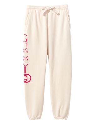 Heavy-Felted Cotton Jersey Jogger Sweatpants W/ Interlock Gg Print in Off-White