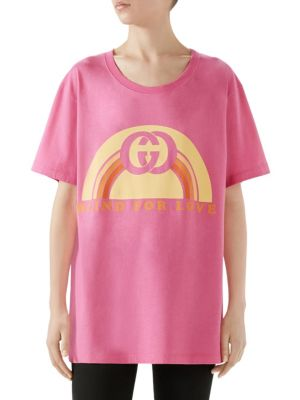 2f8d34a5d Gucci Oversize T-Shirt With Rainbow Print In Pink | ModeSens