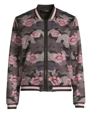 ULTRACOR Collegiate Floral Zip-Front Bomber Jacket in Pink