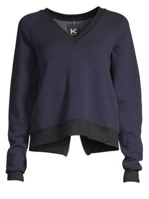 KORAL Solitude Gravity V-Neck Pullover Sweatshirt in Maritime Blue