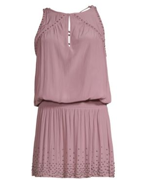 RAMY BROOK Hilary Studded Lace-Up Short Dress in Dusty Rose