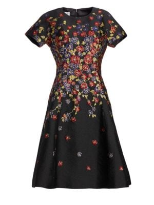 TERI JON BY RICKIE FREEMAN Short-Sleeve Floral-Print Jacquard Fit-And-Flare Knee-Length Cocktail Dress in Black
