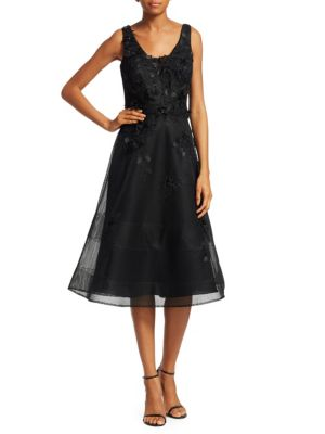 TERI JON BY RICKIE FREEMAN Scoop-Neck Sleeveless 3-D Floral-Embroidered Mesh A-Line Cocktail Dress in Black