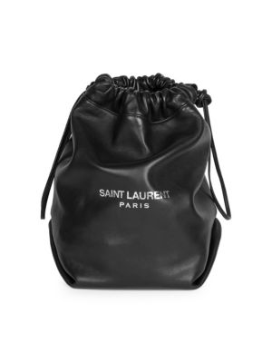 Black Pochon Leather Drawstring Bag