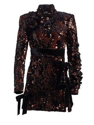Elie Saab Sequin Side Slit Mini Dress