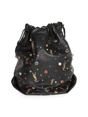 Teddy Stone-Stud Leather Drawstring Bucket Bag in Black