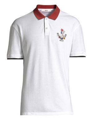 BALLY Men'S Animals Contrast-Trim Polo Shirt, White