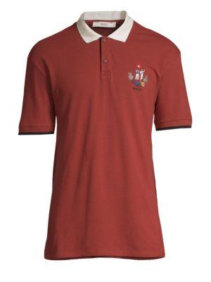BALLY Men'S Animals Contrast-Trim Polo Shirt, Red