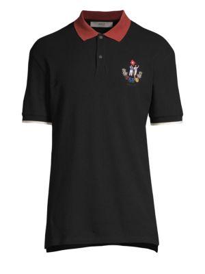 BALLY Men'S Animals Contrast-Trim Polo Shirt, Black