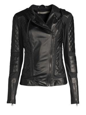 Voyage Hooded Diamond-Stitch Lace-Up Leather Moto Jacket in Black