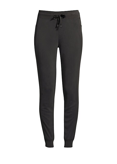 "Image of Comfortable jogger pants with seam detailing. Elasticized drawstring waist. Side slip pockets. Rib-knit cuffs. Loose-leg. Pull-on style. Polyester/cotton/elastane. Machine wash. Imported. SIZE & FIT. Rise, about 10.5"".Inseam, about 29"".Leg opening, about"