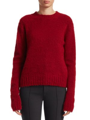 Brushed Wool-Alpaca Crewneck Pullover Sweater in Red