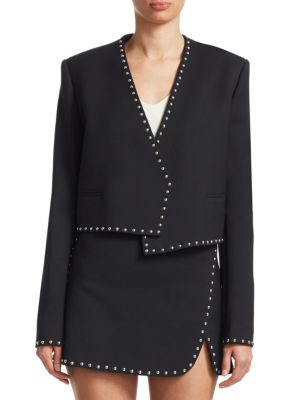 Studded Cropped Open-Front Suit Jacket, Black