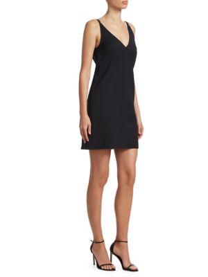 V-Neck Sleeveless Nylon Mini Dress, Black