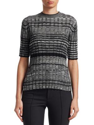 Striped Wool Short-Sleeve Crewneck Sweater in Grey